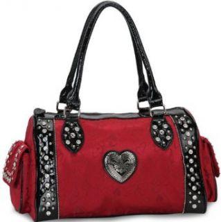 Designer Inspired Rhinestone Studded Satchel Handbag W/ Jacquard Fabric Heart Design Red/ Black Clothing