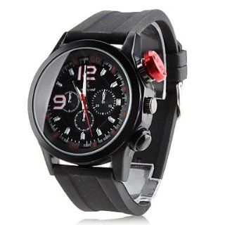 Men's Rubber Analog Quartz Wrist Watch (Black) at  Men's Watch store.