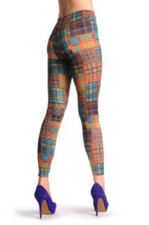 Green & Brown Checkered   Green Checkered Leggings at  Women�s Clothing store