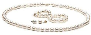White Freshwater Pearl Jewelry Set: 6 7mm AAA: Pearlsofjoy  Jewelry