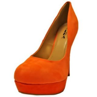Luxury Divas Orange Classic Suede High Heel Platform Pumps Size 8.5: Shoes