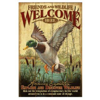 American Expedition Wooden Welcome Sign, Mallard Duck  Hunting Signs  Sports & Outdoors