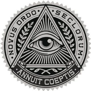 ALL SEEING EYE IN TRIANGLE CREST BLACK GREY Vinyl Decal Sticker Two in One Pack (12 Inches Wide)
