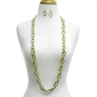 "Long Single Chain Necklace Set; 36""L; Gold Tone Metal; Lobster Clasp Closure; Matching Earrings Included; Necklace Can Also Be Worn As A Belt; Jewelry"