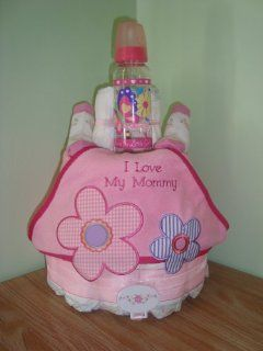 "Flower Design Baby Girl ""I Love MY Mommy"" 3 Layer Diaper Cake   Comes Decoratively Wrapped Making it a Great Gift or Shower Centerpiece   Other Gift Options Also Available: Health & Personal Care"