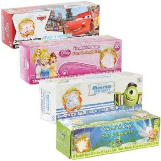 Disney Character Sandwich Bags (Set of 4) 20 ct. boxes of Disney� character snack bags assorted among Fairies, Cars, Disney Princesses, and Monsters UniversityTM. Health & Personal Care