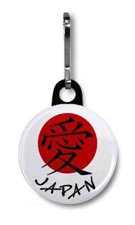 LOVE SYMBOL JAPAN Earthquake Tsunami Survivors Flag 1 inch Black Zipper Pull Charm  Other Products