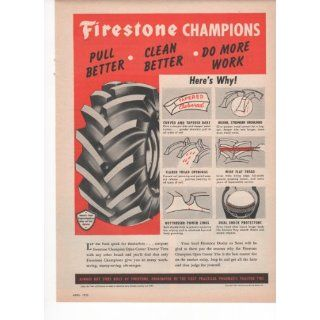 Firestone Champions Truck Tractor Tires Tread 1953 Farm Antique Advertisement  Prints