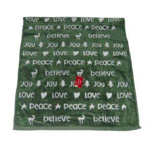 My Christmas Green Holiday Bath Towel Plush Cotton Joy Believe