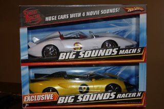 """Speed Racer Big Sounds Hot wheels Cars. Exclusive 2 Pack featuring the Mach 5 & Racer X cars. Racer X only came in this Sold Out Rare 2 Pack. These Huge Hotwheels cars are are 16"""" long & feature 4 Movie Sounds. Toys & Games"""