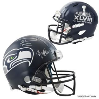 Marshawn Lynch & Russell Wilson Seattle Seahawks Super Bowl XLVIII Champions Autographed Pro Line Authentic Helmet
