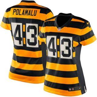Nike Troy Polamalu Pittsburgh Steelers Ladies Throwback Game Jersey   Black/Gold