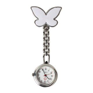 Vktech Butterfly Nurse Table Pocket Watch with Clip Brooch Chain Quartz White : Sports Fan Watches : Sports & Outdoors