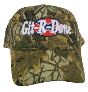 Git R Done Larry the Cable Guy Light Camo Confederate Flag Hat Cap: Everything Else