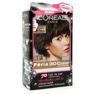 Hair Color Cream Loreal Feria 3d No.70 Cafe Au Late Color : Chemical Hair Dyes : Beauty