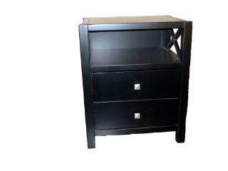 Linon Anna Collection End Table   Black End Table With Drawer