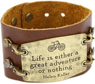 Lenny and Eva Chestnut with Brass Sentiment 'Life is Either' Wide Cuff Bracelet Jewelry