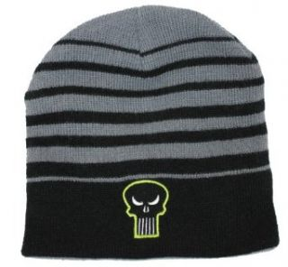 Punisher (Marvel Comics) Gray and Black Striped Mens Beanie (One Size Fits All): Clothing