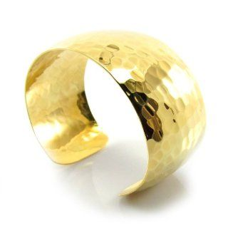 MGD, 30 MM Width Hammered Gold Tone Brass Cuff Bracelet. Adjustable Bangle One Size Fit All, Fashion Jewelry for Women, Teens and Girls, JE 0047B Jewelry
