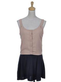 Anna Kaci S/M Fit Beige Black Skirt Button Down Conservative Ruffle Mini Dress