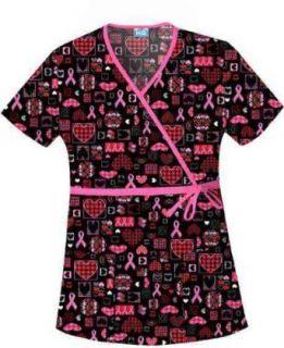 Scrub HQ Women's Cotton Mock Wrap Print Scrub Top Clothing