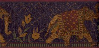 Wallpaper Border Far East Elephants on Navy