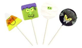 "Spooky Lollipals, Four Halloween shaped pops Mummy, Monster, Cat and Candy corn. Three great flavors Toasted Marshmellow, Green Apple, Blackberry Grape. Great for ""Trick or Treating"", Halloween parties or gift giving. Fun, fully edible, made in"