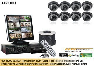 "(FREE 16 Channel DVR Upgrade) ""EXTREME SERIES"" Complete High Definition (HDMI) 8 Camera Color Indoor Sony Super HAD 480 Lines Dome Security Camera System : Complete Surveillance Systems : Camera & Photo"