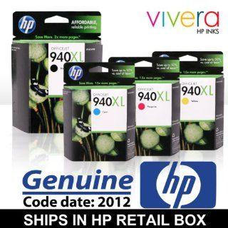 Original HP 940XL 4 Color set (Black, Cyan, Magenta, Yellow) cartridges in Retail Boxes