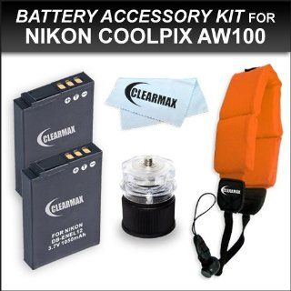 Clearmax 2 Pack Battery Kit for Nikon Coolpix AW100 Waterproof Digital Camera Includes 2 Extended Replacement EN EL12 Batteries + Floating Strap + Cap Tripod + Microfiber Cleaning Cloth  Digital Camera Accessory Kits  Camera & Photo