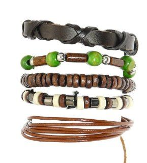Neptune Giftware Set Of 5 Wood Bead / Cord & Leather Surf Surfer Style Bracelets Wristbands   (ONE BRACELET HAS A MAX WRIST SIZE OF 17 cm)   217: Jewelry