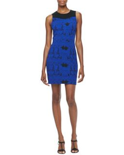 Womens Sleeveless Jacquard Lace Dress, Blue Sapphire   Ali Ro   Blue sapphire
