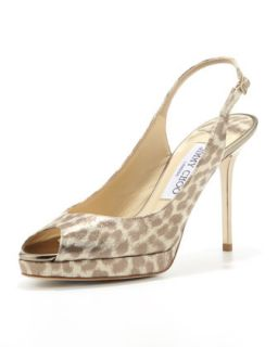 Nova Leopard Print Platform Slingback, Light Gold   Jimmy Choo   Light gold (38.