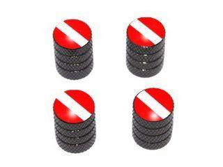 Scuba Diver Flag   Tire Rim Valve Stem Caps   Black: Automotive