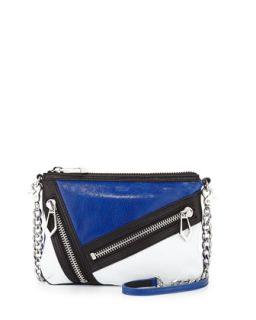 Cruz Colorblock Zip Crossbody Bag, Ultra Violet/White   Botkier