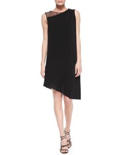Womens Rosa Sleeveless Mesh Shoulder Asymmetric Dress   Tahari   Black (2)
