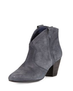 Jalouse Suede Slip On Western Ankle Bootie, Midnight   Ash   Midnight (37.0B/7.