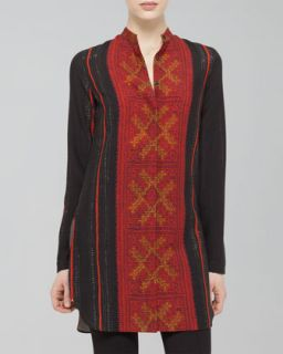Womens Cross Stitch Print Wool Tunic, Black/Coral   Akris punto   Black coral