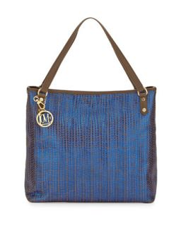 Borsa Metallic Woven PVC Tote Bag, Blue/Taupe   Moschino