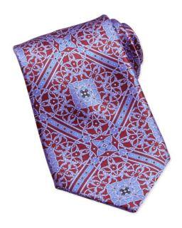 Mens Floral Pattern Woven Silk Tie, Burgundy   Stefano Ricci   Burgundy