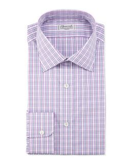 Mens Plaid Barrel Cuff Dress Shirt, Pink/Gray   Charvet   Pink/Grey (16R)