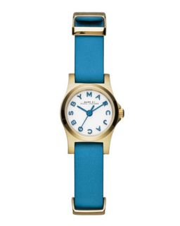 Henry Dinky Analog Watch with Leather Strap, Golden/Blue   MARC by Marc Jacobs