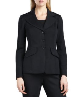 Womens Marocain Trim Milano Jacket, Caviar   St. John Collection   Caviar (12)