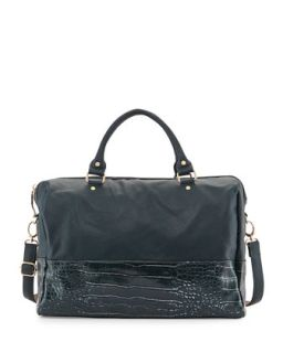 Celestial Faux Leather Snake Print Weekender Bag, Teal   Deux Lux