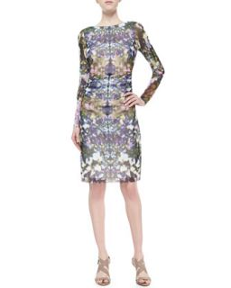 Womens Floral Print Boat Neck Ruched Dress   Kay Unger New York   Purple (X