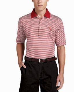 Mens OU Gameday College Shirt Polo, Striped   Peter Millar   White/Red (MEDIUM)