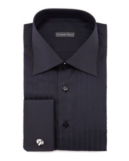 Mens Textured Herringbone Dress Shirt, Black   Stefano Ricci   Blk 43 (16)