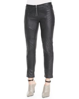 Womens Biker Cropped Leather Pants, Black   Faith Connexion   Black (42)