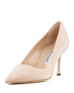 BB Suede 70mm Pump, Nude (Made to Order)   Manolo Blahnik   Nude (39.0B/9.0B)