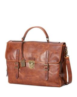 Mens Logan Buckle Leather Briefcase, Cognac   Frye   Cognac